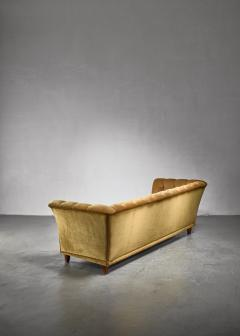 Otto Schultz Otto Schulz tufted golden yellow plush three seater sofa Sweden - 1174591