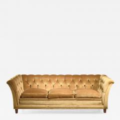 Otto Schultz Otto Schulz tufted golden yellow plush three seater sofa Sweden - 1175126