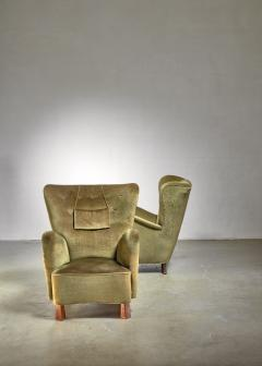 Otto Schultz Pair of green Otto Schulz lounge chairs Sweden 1930s - 1126844