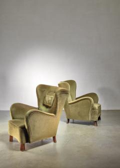 Otto Schultz Pair of green Otto Schulz lounge chairs Sweden 1930s - 1126845