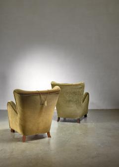 Otto Schultz Pair of green Otto Schulz lounge chairs Sweden 1930s - 1126846