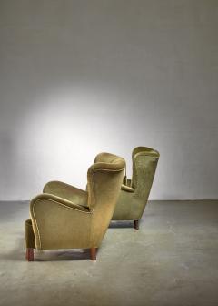Otto Schultz Pair of green Otto Schulz lounge chairs Sweden 1930s - 1126847