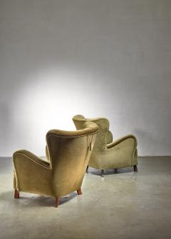 Otto Schultz Pair of green Otto Schulz lounge chairs Sweden 1930s - 1126848