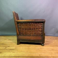 Otto Schulz Early 1940s Otto Schultz Woven Leather Club Chair Boet Sweden - 1318088