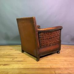 Otto Schulz Early 1940s Otto Schultz Woven Leather Club Chair Boet Sweden - 1318092
