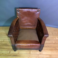 Otto Schulz Early 1940s Otto Schultz Woven Leather Club Chair Boet Sweden - 1318093
