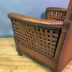 Otto Schulz Early 1940s Otto Schultz Woven Leather Club Chair Boet Sweden - 1318095