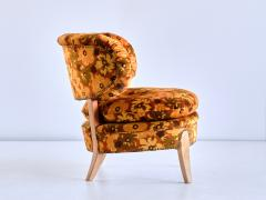 Otto Schulz Pair of Otto Schulz Lounge Chairs in Floral Velvet and Beech Sweden 1940s - 1888569