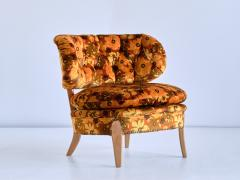 Otto Schulz Pair of Otto Schulz Lounge Chairs in Floral Velvet and Beech Sweden 1940s - 1888570