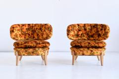 Otto Schulz Pair of Otto Schulz Lounge Chairs in Floral Velvet and Beech Sweden 1940s - 1888571