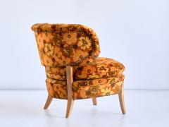 Otto Schulz Pair of Otto Schulz Lounge Chairs in Floral Velvet and Beech Sweden 1940s - 1888574