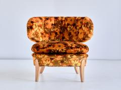 Otto Schulz Pair of Otto Schulz Lounge Chairs in Floral Velvet and Beech Sweden 1940s - 1888575