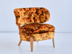 Otto Schulz Pair of Otto Schulz Lounge Chairs in Floral Velvet and Beech Sweden 1940s - 1888576