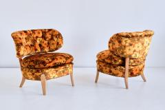 Otto Schulz Pair of Otto Schulz Lounge Chairs in Floral Velvet and Beech Sweden 1940s - 1888578