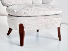 Otto Schulz Pair of Otto Schulz Lounge Chairs in Gray Chenille and Beech Sweden 1940s - 1910438
