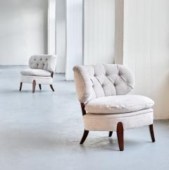 Otto Schulz Pair of Otto Schulz Lounge Chairs in Gray Chenille and Beech Sweden 1940s - 1910439
