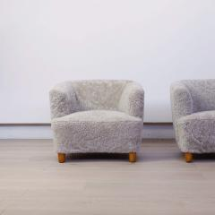 Otto Schulz Pair of Shearling Upholstered Barrel back chairs by Otto Schulz for Boet - 1943010