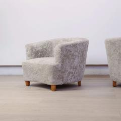 Otto Schulz Pair of Shearling Upholstered Barrel back chairs by Otto Schulz for Boet - 1943011
