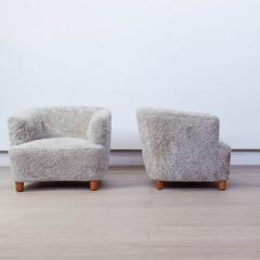 Otto Schulz Pair of Shearling Upholstered Barrel back chairs by Otto Schulz for Boet - 1943012