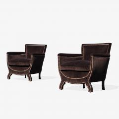 Otto Schulz Petite Art Deco Club Chairs in Espresso Velvet by Otto Schulz for Boet Pair - 1625420