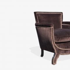 Otto Schulz Petite Art Deco Club Chairs in Espresso Velvet by Otto Schulz for Boet Pair - 1625422