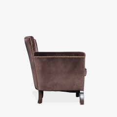 Otto Schulz Petite Art Deco Club Chairs in Espresso Velvet by Otto Schulz for Boet Pair - 1625425
