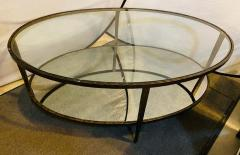 Oval Antiqued Metal Coffee Low Table with Glass Top - 1715365