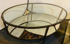 Oval Antiqued Metal Coffee Low Table with Glass Top - 1715370