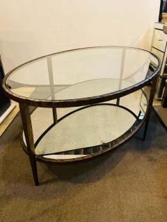 Oval Antiqued Metal Coffee Low Table with Glass Top - 1715371