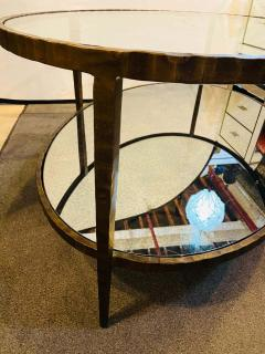 Oval Antiqued Metal Coffee Low Table with Glass Top - 1715373