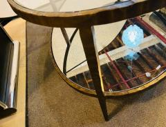 Oval Antiqued Metal Coffee Low Table with Glass Top - 1715374