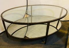 Oval Antiqued Metal Coffee Low Table with Glass Top - 1715375