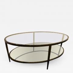 Oval Antiqued Metal Coffee Low Table with Glass Top - 1717738