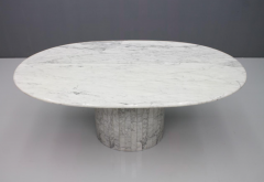 Oval Dining Table in White Carrara Marble Italy 1960 - 1272668