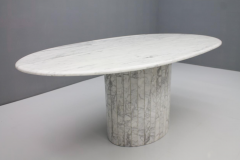Oval Dining Table in White Carrara Marble Italy 1960 - 1272669