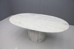 Oval Dining Table in White Carrara Marble Italy 1960 - 1272670