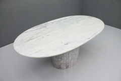 Oval Dining Table in White Carrara Marble Italy 1960 - 1272671