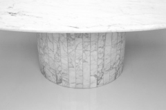 Oval Dining Table in White Carrara Marble Italy 1960 - 1272673