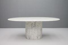 Oval Dining Table in White Carrara Marble Italy 1960 - 1272674