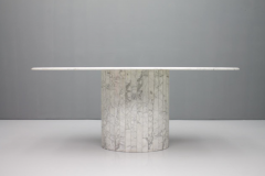 Oval Dining Table in White Carrara Marble Italy 1960 - 1272675