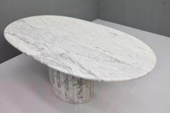 Oval Dining Table in White Carrara Marble Italy 1960 - 1272677