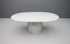 Oval Dining Table in White Carrara Marble Italy 1960 - 1272678