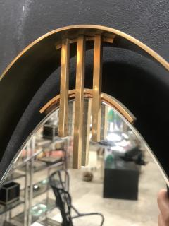 Oval Mirror with Iron Floating and Brass Style Frame Italy 1970s - 1604632