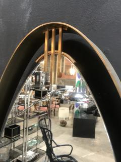 Oval Mirror with Iron Floating and Brass Style Frame Italy 1970s - 1604636