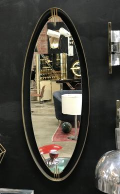 Oval Mirror with Iron Floating and Brass Style Frame Italy 1970s - 1604639