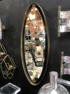 Oval Mirror with Iron Floating and Brass Style Frame Italy 1970s - 1604640