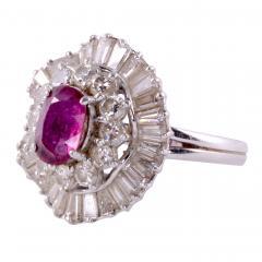 Oval Ruby Diamond Platinum Ring - 2129800