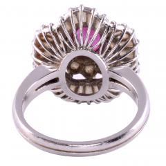 Oval Ruby Diamond Platinum Ring - 2129802