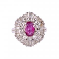 Oval Ruby Diamond Platinum Ring - 2132013