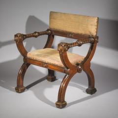 Overscale Antique Curule Desk Armchair - 1214811